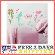 mermaid big wall decals gold glitter pink green room decor stickers ocean s