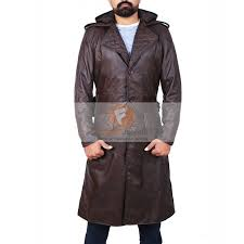 assassin s creed brown leather trench coat hooded jacket men s long leather jacket