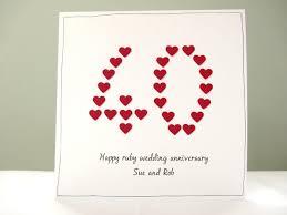 Wedding Anniversary Greeting Card Designs Ruby Wedding Anniversary Card Personalised 40th Anniversary Greeting Card Husband Wife Mum Dad Mom Free Personalisation Handmade Uk