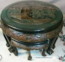 antique chinese hand carved wood tea coffee table with 4 matching carved chairs