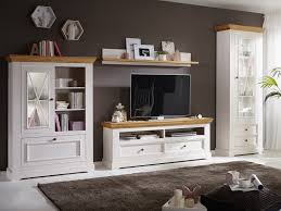 Wohnwand Weiß Massivholz Milan 4 Teilig 1 Hohe Vitrine 1 Türig Highboard Tv Lowboard Und Wandbord