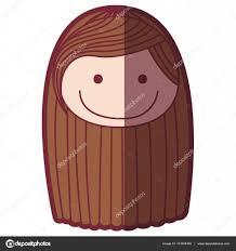 色シルエット シェーディング漫画正面ブラウン ストライプ長い髪の女の子