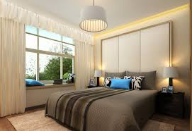bedroom: Small Tropical Bedroom Design With Futurisitc Recessed Ceiling  Light Ideas Feat Entrancing Grey Accents