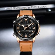 LIGE New <b>Mens Watches</b> Top Luxury Brand <b>Men Leather</b> Sports ...