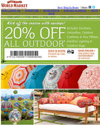World Market 20% off Printable Coupon Good on Outdoor Items