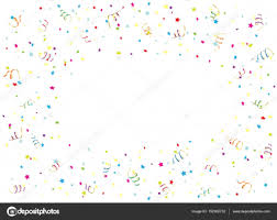 Happy Birthday Streamer And Confetti On White Background Stock