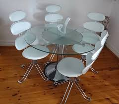 revolving modern contemporary round glass dining table 4 white chrome chairs
