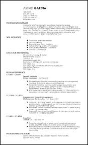 Spanish Resume Template Wonderful Free EntryLevel Resume Translator Templates ResumeNow