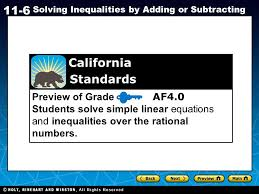 holt ca course 1 11 6 solving inequalities by adding or subtracting preview of grade