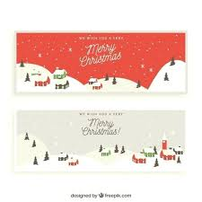 Merry Christmas Banner Banners With Snowy City Free Vector