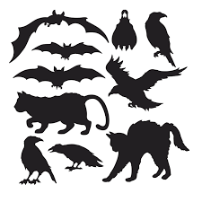 Pack of 10 Halloween Silhouette Cutouts - Halloween Party Decorations