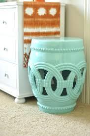 chinese garden stool. Decoration: White Chinese Garden Stool Aqua Blue And