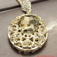 womens necklaces pendants rhinestone crystal hollow out big oval pendant long necklace gold plated 981584