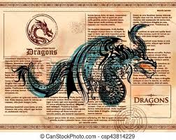 furious dragon drawing on old vine book page csp43814229