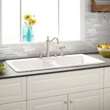 White cast iron kitchen sink Double 43 Signature Hardware Cast Iron Kitchen Sinks Signature Hardware