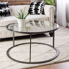 glass coffee table. Clay Alder Home Round Glass Top Metal Coffee Table