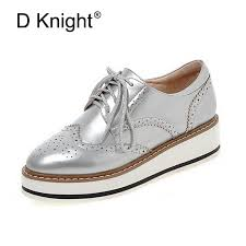 women brogue oxfords las casual platform wedges heel shoes woman patent leather oxford shoes for women black red silver white
