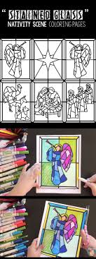 Stained Glass Christmas Nativity Scene Coloring