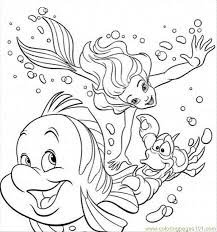 Small Picture They Are Swimming Together Coloring Page Free The Little Mermaid