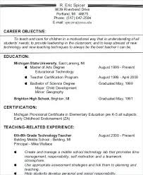 Example Teacher Resumes Simple Objective For Resume Teacher Career Example Sample Assistant