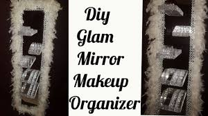 diy glam mirror makeup organizer with floating shelves