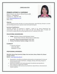 Student Resume Examples First Job Working Sample Philippines High ...