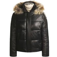 leather jacket with fur hood womens