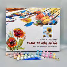 Tranh sơn dầu số hóa tô màu theo số BH0540 Tranh lọ hoa mẫu đơn cổ điển - Tranh  sơn dầu Thương hiệu OEM