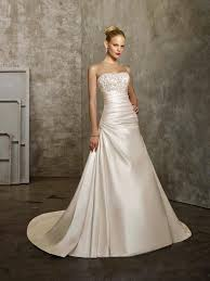 a line satin wedding dress. satin wedding dress with strapless neckline a line
