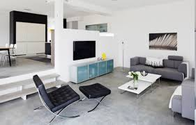 modern interior design apartments. Amazing Perfect Modern Minimalist Apartment Living Room Design With Permanent Half Wall Divider And Concrete Interior Apartments