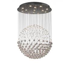 exc1750 excelsior 13 light modern ceiling light pendant crystal and polished chrome finish