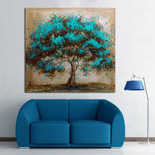 handpainted modern abstract blue tree canvas art decoration of oil painting wall pictures for living room