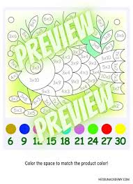 Multiplication color by number worksheet; Fun Free Printable Multiplication Worksheets