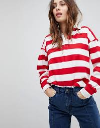 evidnt stripe rugby shirt red white stripe women s tops zz2woe2j