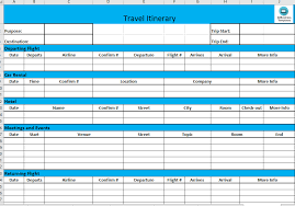 Itinerary Travel Template Business Travel Itinerary Template Excel Business Trip Planner