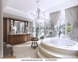 bathroom classic design. Luxury Bathroom In Classic Style. With Jacuzzi, Shower And Furniture. 3D Design