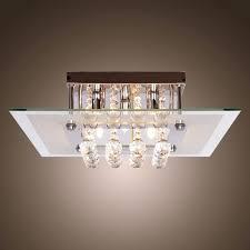 modern flush mount kitchen lighting crystal drop flush mount lights with 5 lights in square design