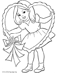 Little Girl And A Valentines Day Heart Coloring Page Winter