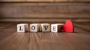 wooden love letters and red heart hd