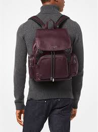 cordovan michael kors henry leather backpack bag