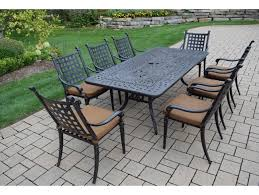 belmont aluminum 9 pc patio dining set with 84 x 42 inch rectangular table 8 stackable high back chairs with fade and mildew resistant sunbrella fabric