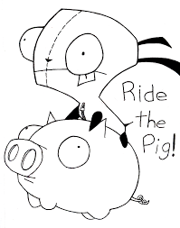 Gir and pig line art by Aubra on DeviantArt