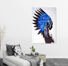 Modern Paintings For Living Room 2017 Native American Man Figure Picture Canvas Art Living Room