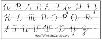 Upper case cursive letters