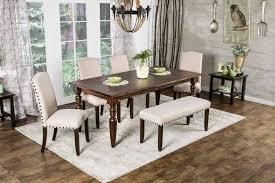 furniture of america cm3440t 78 cm3538sc cm3538bn anapolis 6 pieces transitional dark walnut finish dining table set