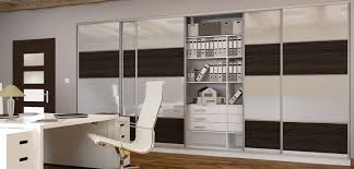 sliding doors in an office coloured safety glass plus coloured melamine boards alt