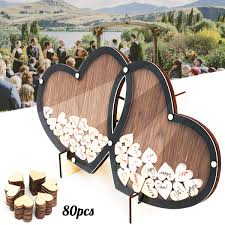 wooden hearts wedding guest book double heart frame holder stand visit sign book guestbook party decor ornaments with 80 hearts
