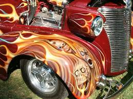 taken at a local car show hot rod with skulls and flames