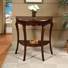 furniture astonishing half moon entry hall console table shaped tables cappuccino finish sofa small foyer