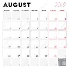 Calendar Planner For August 2019 Week Starts On Monday Printable